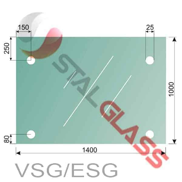 Szkło laminowane VSG i hartowane ESG 66,2 1400x1000mm