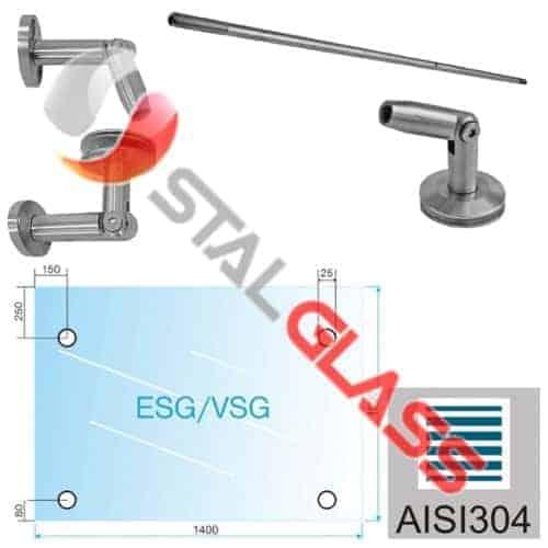 Szkło laminowane VSG – hartowane ESG 1400x1000mm + komplet okuć