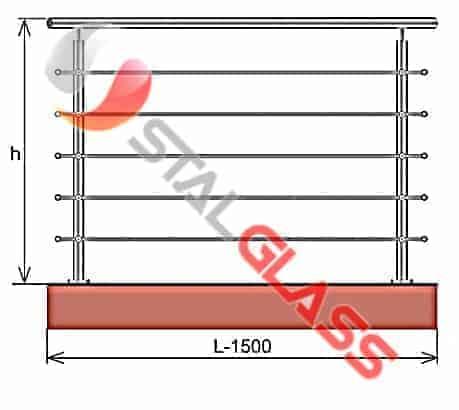 Balustrada ze stali nierdzewnej L 1500mm H1000mm, Szlif, AISI 304