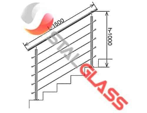 Balustrada ze stali nierdzewnej na schody, L-1500mm, h-1000mm, szlif
