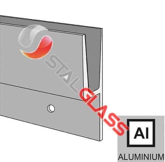 Profil aluminiowy balustrady całoszklanej – mocowanie od boku -2,5m
