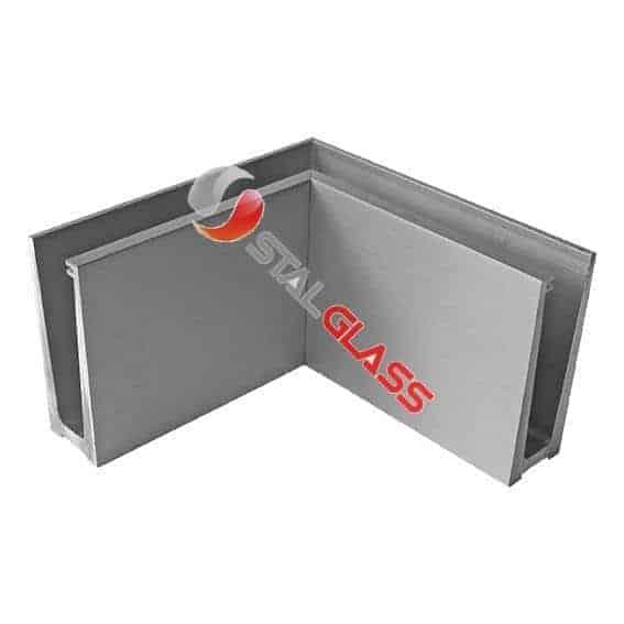Profil narożny aluminiowy balustrady całoszklanej, mocowanie od góry