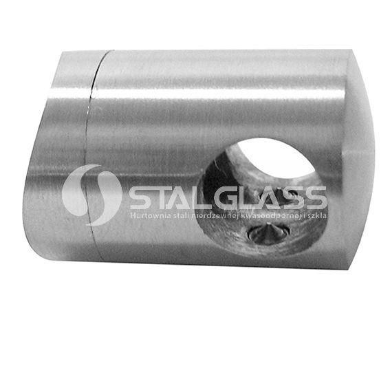 Uchwyt przelotowy fi 12mm mocowany do rury 33,7mm  AISI 304 – szlif