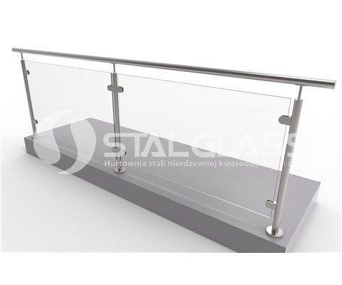 Balustrada prosta ze szkłem laminowanym przeźroczystym L-3000 h-1000mm